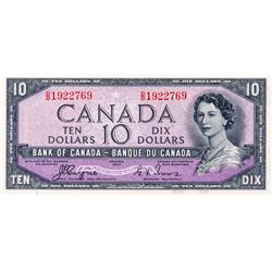 BANK OF CANADA.  $10.00.  1954 Issue.  BC-32a.  'Devil's Face'.  Coyne-Towers. No. D/D1922769.  PCGS