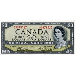BANK OF CANADA.  $10.00.  1954 Issue.  BC-32a.  'Devil's Face'.  Coyne-Towers. No. A/E9878527.  Unc.