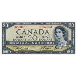 BANK OF CANADA.  $20.00.  1954 Issue.  BC-33b.  'Devil's Face'.  Beattie-Coyne.  No. D/E6653651.  PM