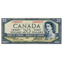 BANK OF CANADA.  $20.00.  1954 Issue.  BC-33b.  'Devil's Face'.  Beattie-Coyne.  No. No. C/E8869675.