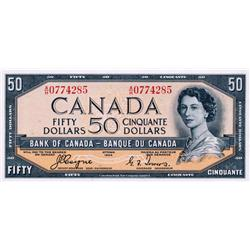 BANK OF CANADA.  $50.00.  1954 Issue.  BC-34a.  'Devil's Face'.  Coyne-Towers.  No. A/H0774285.  PMG