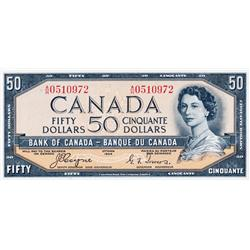 BANK OF CANADA.  $50.00.  1954 Issue.  BC-34a.  'Devil's Face'.  Coyne-Towers.  No. A/H0510972.  Ex.
