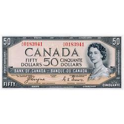 BANK OF CANADA.  $50.00.  1954 Issue.  BC-34a.  'Devil's Face'.  Coyne-Towers.  No. A/H0183941.  Cho