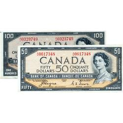 BANK OF CANADA.  $50.00.  1954 Issue.  BC-34a.  'Devil's Face'.  Coyne-Towers.  No. A/H0617348.  VG-