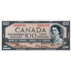 BANK OF CANADA.  $100.00.  1954 Issue.  BC-35a.  'Devil's Face'.  Coyne-Towers.  No. A/J0438733.  PM