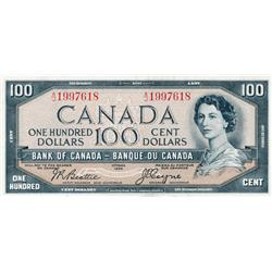 BANK OF CANADA.  $100.00.  1954 Issue.  BC-35b.  'Devil's Face'.  Beattie-Coyne.  No.  A/J1997618.