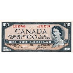BANK OF CANADA.  $100.00.  1954 Issue.  BC-35b.  'Devil's Face'.  Beattie-Coyne.  No. A/J2335769.  P