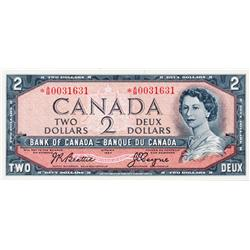 BANK OF CANADA.  $2.00.  1954 Issue.  BC-38aA.  Modified.  No. *A/B0031631.  PMG graded Unc-64.