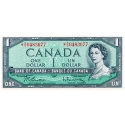 BANK OF CANADA.  $1.00.  1954 Issue.  BC-37bA.  Modified.  No. *D/O0483677.  PCGS graded Unc-64.