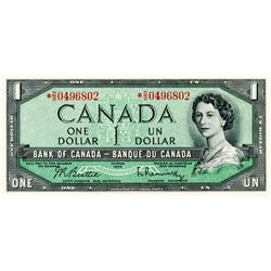 BANK OF CANADA.  $1.00.  1954 Issue.  BC-37bA.  Modified.  No. *D/O0496802.  Choice Unc.