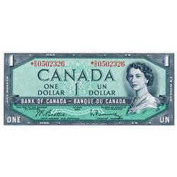 BANK OF CANADA.  $1.00.  1954 Issue.  BC-37bA.  Modified.  No. *D/O0502326.  PCGS graded CH AU-58.