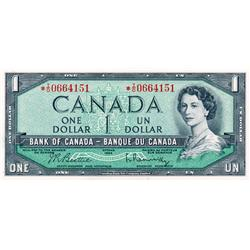 BANK OF CANADA.  $1.00.  1954 Issue.  BC-37bA.  Modified.  No. *I/O0664151.  PCGS graded Choice AU-5