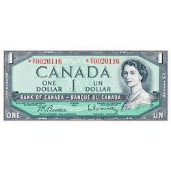 BANK OF CANADA.  $1.00.  1954 Issue.  BC-37bA.  Modified.  No. *O/Y0020116.