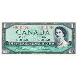BANK OF CANADA.  $1.00.  1954 Issue.  BC-37bA.  Modified.  No. *S/O0011904.  BC-37bA-i.  No. *A/Y009