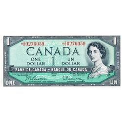 BANK OF CANADA.  $1.00.  1954 Issue.  BC-37bA.  Modified.  No. *S/O0276059.  $1.00.  1954 Issue.  BC