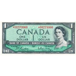 BANK OF CANADA.  $1.00.  1954 Issue.  BC-37bA.  Modified.  No. *S/O0101664. & *S/O0273060.  Both CCC