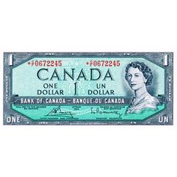 BANK OF CANADA.  $1.00.  1954 Issue.  BC-37bA-i.  Modified.  No. *A/F0353861.  PCGS graded Unc-65.