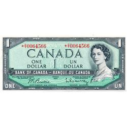 BANK OF CANADA.  $1.00.  1954 Issue.  BC-37bA-i.  Modified.  No. *O/Y0064566.  CCCS graded AU-58.