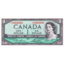 BANK OF CANADA.  $1.00.  1954 Issue.  BC-37cA.  Modified.  No. *C/F0773654.  PCGS graded Gem Unc-65.