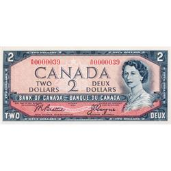 BANK OF CANADA.  $2.00.  1954 Issue.  BC-38a.  Modified.  No. A/R0000039.  A low serial numbered not