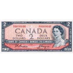 BANK OF CANADA.  $2.00.  1954 Issue.  BC-38a.  Modified.  No. A/R0000046.  A low serial numbered not