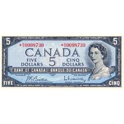 BANK OF CANADA.  $5.00.  1954 Issue.  BC-39bA.  Modified.  No. */X0098730. PCGS graded Choice Unc-64