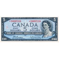 BANK OF CANADA.  $5.00.  1954 Issue.  BC-39bA.  Modified.  No.  *N/X0097218.  PMG graded AU-55.