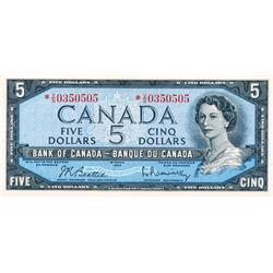 BANK OF CANADA.  $5.00.  1954 Issue.  BC-39bA.  Modified.  No. *V/S0350505.  PCGS graded AU-55.  PPQ