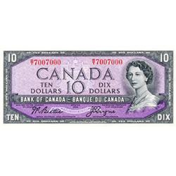 BANK OF CANADA.  $10.00.  1954 Issue.  BC-40a.  Modified.  No. B/T7007000.  Unc.  An interesting ser