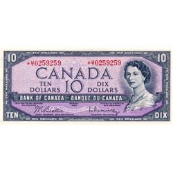 BANK OF CANADA.  $10.00.  1954 Issue.  BC-40bA.  Modified.  No. *U/T0259259.  PCGS graded Choice AU-