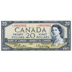 BANK OF CANADA.  $20.00.  1954 Issue.  BC-41bA.  Modified.  No. *A/E0032992.  PCGS graded Unc-62. PP
