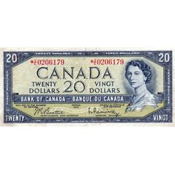 BANK OF CANADA.  $20.00.  1954 Issue.  BC-41bA.  Modified.  No. *V/E0206179.  PCGS graded Very Fine-