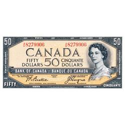 BANK OF CANADA.  $50.00.  1954 Issue.  BC-42a.  Modified.  Beattie-Coyne.  No. A/H8279906. Crisp Unc
