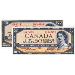 BANK OF CANADA.  $50.00.  1954 Issue.  BC-42a.  Modified. No. A/H5272281. AU;  $100.00.  1954 Issue.