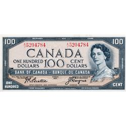 BANK OF CANADA.  $100.00.  1954 Issue.  BC-43a.  Modified. No. A/J5204781.  No. A/J5204784.  Both no