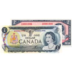 BANK OF CANADA.  $1.00.  1973 Issue.  BC-46a.  Lawson-Bouey.  No. AS0001998.  $2.00.  1954 Issue.  B