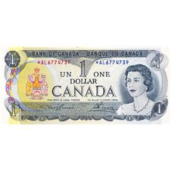 BANK OF CANADA.  $1.00.  1973 Issue.  BC-46aA.  Lawson-Bouey.  No. *AL6774739.  CCCS graded Unc-64;