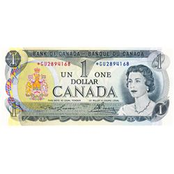 BANK OF CANADA.  $1.00.  1973 Issue.  BC-46aA.  Lawson-Bouey.  No. *GU2894168.  CCCS graded Unc-62;