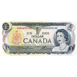 BANK OF CANADA.  $1.00.  1973 Issue.  BC-46aA.  Lawson-Bouey.  No. *MR6694143.  No. *MR6694143.  Lot