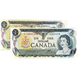 BANK OF CANADA.  $1.00.  1973 Issue.  BC-46aA.  Lot of two better replacement notes.  *OL in VF+;  *