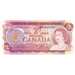 BANK OF CANADA.  $2.00.  1974 Issue.  BC-47aA.  Lawson-Bouey.  No. *BC0372075.  PCGS graded Gem Unc-