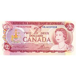 BANK OF CANADA.  $2.00.  1974 Issue.  BC-47aA.  Lawson-Bouey.  No. *BJ6329358.  PCGS graded Unc-63.