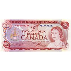 BANK OF CANADA.  $2.00.  1974 Issue.  BC-47aA.  Lawson-Bouey.  No. *BX6493287.  Choice Unc-63.