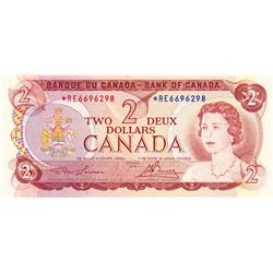 BANK OF CANADA.  $2.00.  1974 Issue.  BC-47aA.  Lawson-Bouey.  No. *RE6696298.  PCGS graded Unc-65.