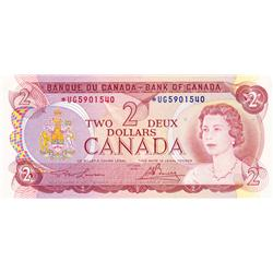 BANK OF CANADA.  $2.00.  1974 Issue.  BC-47aA.  Lawson-Bouey.  No. *UG5901540.  PCGS graded Unc-64.
