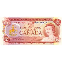 BANK OF CANADA.  $2.00.  1974 Issue.  BC-47aA.  Lawson-Bouey.  No. *UG5950013.  A scarcer prefix.  C