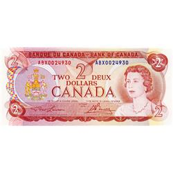 BANK OF CANADA.  $2.00.  1974 Issue.  BC-47aA-i.  Lawson-Bouey.  No. ABX0024930.  CU.