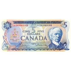BANK OF CANADA.  $5.00.  1972 Issue.  BC-48aA.  Bouey-Rasminsky.  No. *CA2982195.  Unc-60.