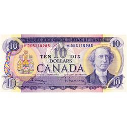 BANK OF CANADA.  $10.00.  1971 Issue.  BC-49bA.  No. *DK3114985.  PCGS graded CH AU-58. PPQ.