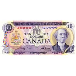 BANK OF CANADA.  $10.00.  1971 Issue.  BC-49c-i.  No. EDAAA2000000.  AU+.